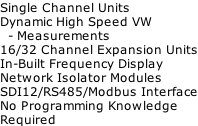 Single Channel Units Dynamic High Speed VW    - Measurements 16/32 Channel Expansion Units In-Built Frequency Display Network Isolator Modules SDI12/RS485/Modbus Interface No Programming Knowledge  Required